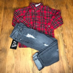 Distressed Skinny Jeans Black 5T XS Boys NEW NWT